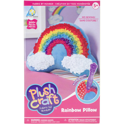 PlushCraft Fabric By Number Kit-Rainbow Pillow