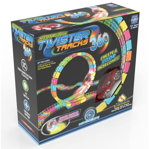 Mindscope Twister Tracks Trax 360 Loop 13 feet of Neon Glow in the Dark Track with 1 Light-Up Red Race Vehicle Series