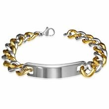 Urban Male Chunky Solid Stainless Steel Two Tone Curb Link ID Plate Bracelet