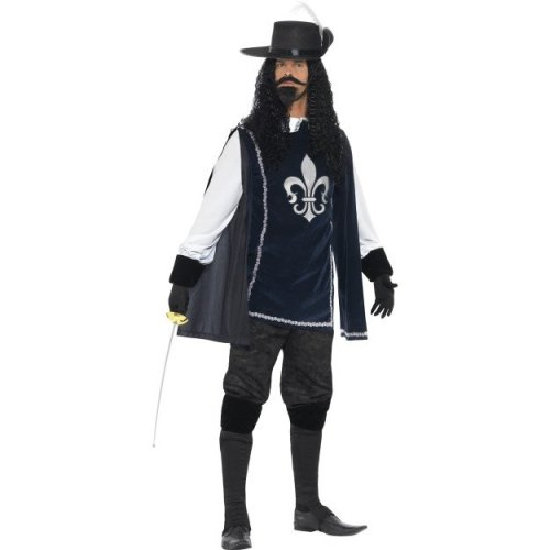 Large Adult's Musketeer Costume - Mens Fancy Dress Medieval Outfit New Adult -  costume musketeer mens fancy dress medieval outfit new adult