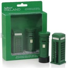 Ireland Die Cast Metal Green Telephone Post Box Gift Set Souvenir Irish Telefon