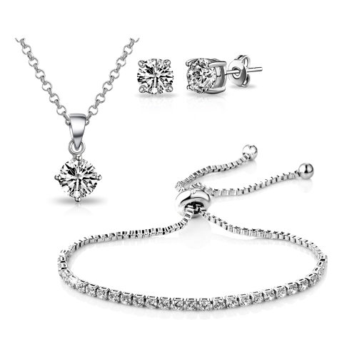 Silver Plated Solitaire Friendship Set Created with Swarovski Crystals