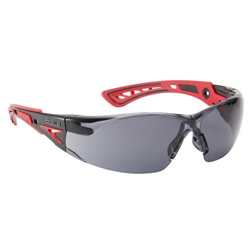 Bolle RUSH+ RUSHPPSF Safety Glasses - Red/Black Temples Smoke Lens
