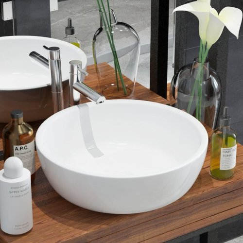 142341 vidaXL Basin Round Ceramic White 42x12 cm