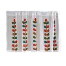 Short Kitchen Cloth Curtain Small Window Half Cafe Curtain - Translucent Leaves
