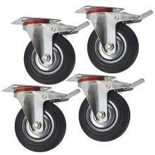 "5"" (125mm) Toolzone Heavy Duty Double Bearing Castor Wheel Swivel With Brake"