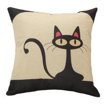 Decor Cotton Linen Decorative Throw Pillow Case Cushion Cover,Black Cat