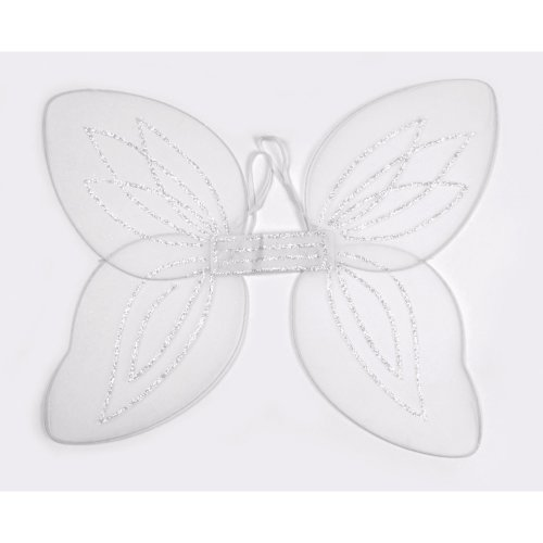 Large White Netted Angel Wings -  angel wings fancy dress white fairy adult accessory christmas party butterfly black pink green net nativity