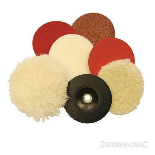 180mm 8 Piece Sanding & Polishing Kit - Silverline 15120 8pce -  sanding polishing kit 180mm silverline 151208 8pce