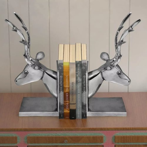 vidaXL 2 pcs Bookends Book Desk Stand Office Stationery Deer Aluminium Silver