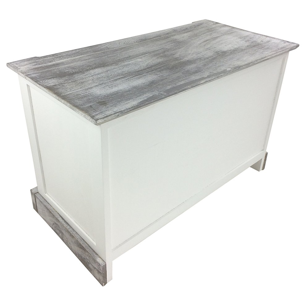 White Wooden Storage Bench Seat With Cushion Shabby Chic