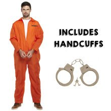 Orange Prisoner Convict Fancy Dress Costume