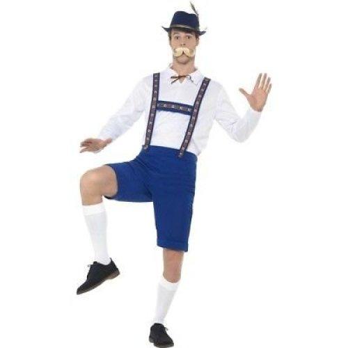 Bavarian Costume, Blue, With Shirt & Lederhosen -  costume bavarian mens oktoberfest festival fancy dress mxl
