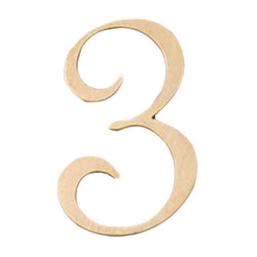 DIY Brass House Number Decorative Metal Numbers for Home Door Mailbox, 2 Pcs Number 3