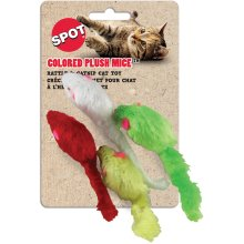 "Colored Plush Mice With Catnip & Rattle 4.5"" 4/Pkg-Assorted"