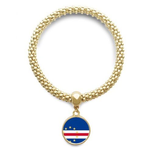 Cape Verde National Flag  Golden Bracelet Round Pendant Jewelry Chain