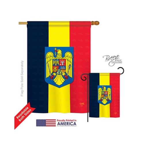 Breeze Decor 08191 Romania 2-Sided Vertical Impression House Flag - 28 x 40 in.