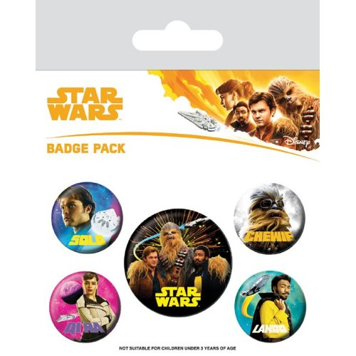 STAR WARS Official Pin Backed Badge Pack HAN SOLO Movie