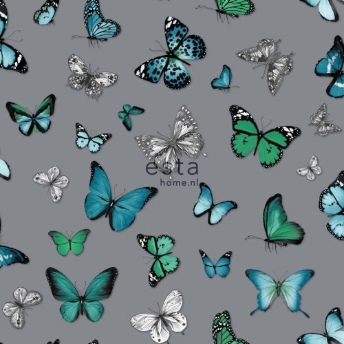 HD non-woven wallpaper butterflies silver and turquoise