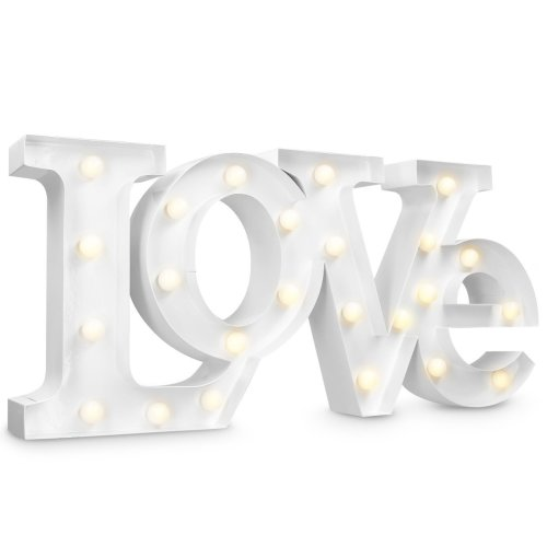 Navaris Led Lettering Love Decoration Lamp Battery Operated Metal Illuminated Letters Warm White Retro For The Living Room