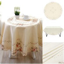 Embroidered Flower Cutwork Fabric Table Runners