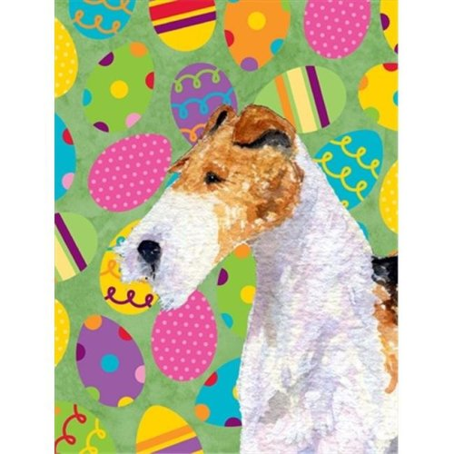 11 x 15 in. Fox Terrier Easter Eggtravaganza Garden Size Flag
