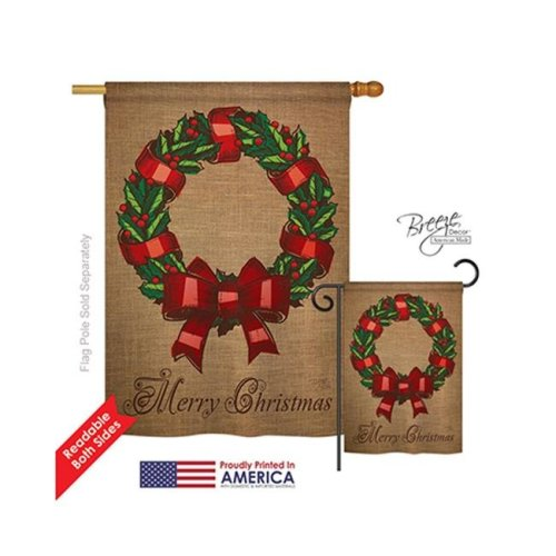 Breeze Decor 14108 Christmas Wreath 2-Sided Vertical Impression House Flag - 28 x 40 in.