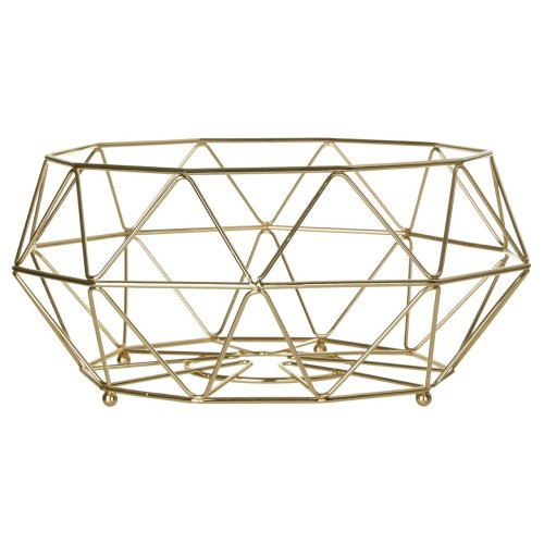 Vertex Fruit Basket, 32 cm - Gold Plated