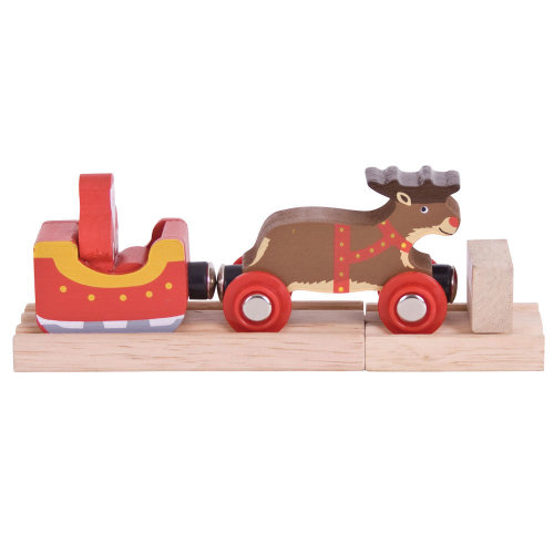 Bigjigs Rail Santa Sleigh with Reindeer - Other Major Wooden Rail Brands are Compatible