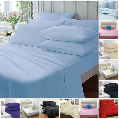 FITTED SHEETS PERCALE PLAIN DYED COMBED SINGLE