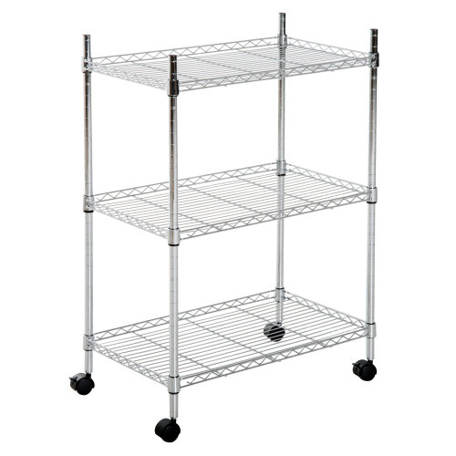 HOMCOM 3-Tier Rolling Kitchen Cart Trolley Storage Rack Adjustable Height Shelving Unit Mobile Island Tray with Casters