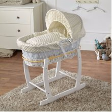 Cream Dimple White Wicker Deluxe Moses Basket & White Rocking Stand