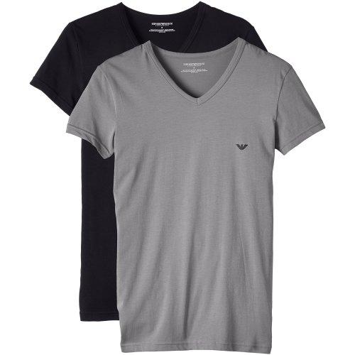 Emporio Armani Men's 111512cc717 Short Sleeve T-Shirt,Pack of 2,Multicoloured (Black/Grigio),X-Large