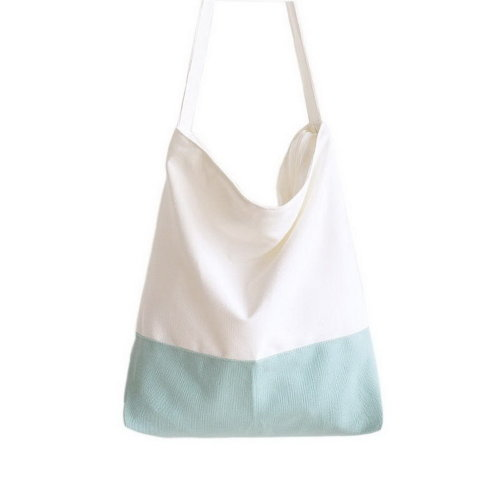Simple Design Tote Bags Large Canvas Tote Bags Fashion College Bags Light Blue