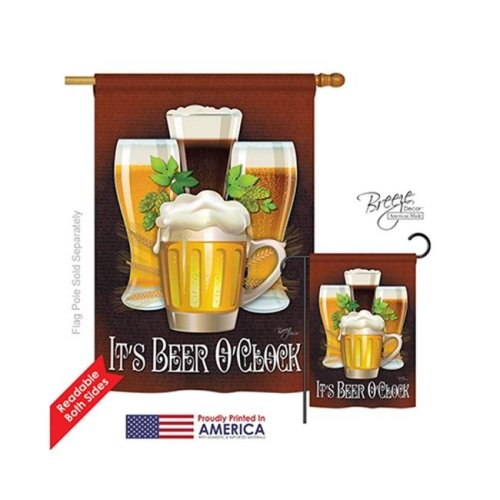 Breeze Decor 17028 Its Beer OClock 2-Sided Vertical Impression House Flag - 28 x 40 in.