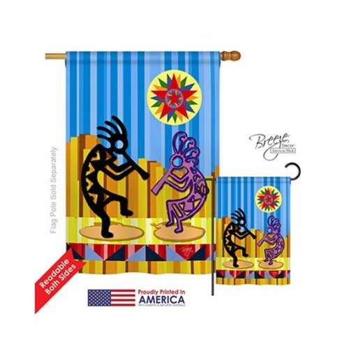 Breeze Decor 15079 Southwest Kokopelli Dream 2-Sided Vertical Impression House Flag - 28 x 40 in.