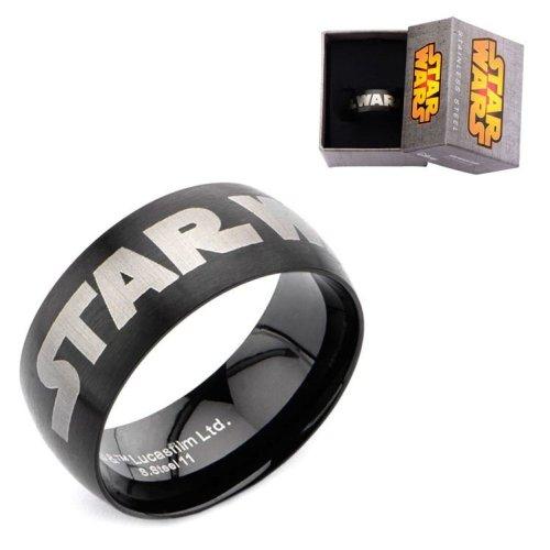 Stainless Steel IP Black Star Wars Logo Ring