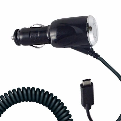 i-Tronixs - Black Coiled Cord Adapter (2000 mAh) Type-C Car Charger for HTC U Ultra