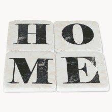 Ceramic H O M E Black & White Coasters