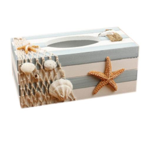 Mediterranean Style Wooden Tissue Box Paper Tissue Holder, Starfish