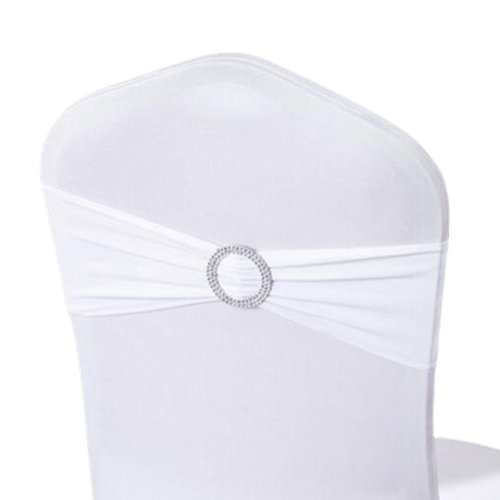 10PCS Chair Back Wedding Bow Sashes Chair Cover Bands With Buckle-White