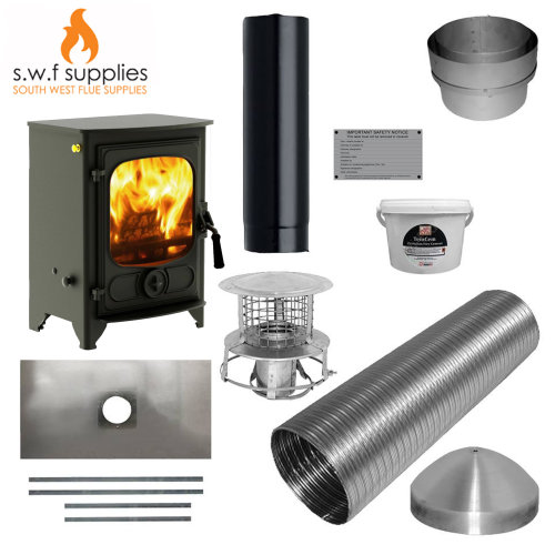 Charnwood Country 4 5kw Woodburner MultiFuel Stove&Complete 9m Liner Install Kit