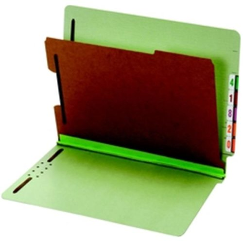 End Tab Classification Folders, Letter, 1 Divider, 2 in Embedded Fast, Light Green, 10 per BX