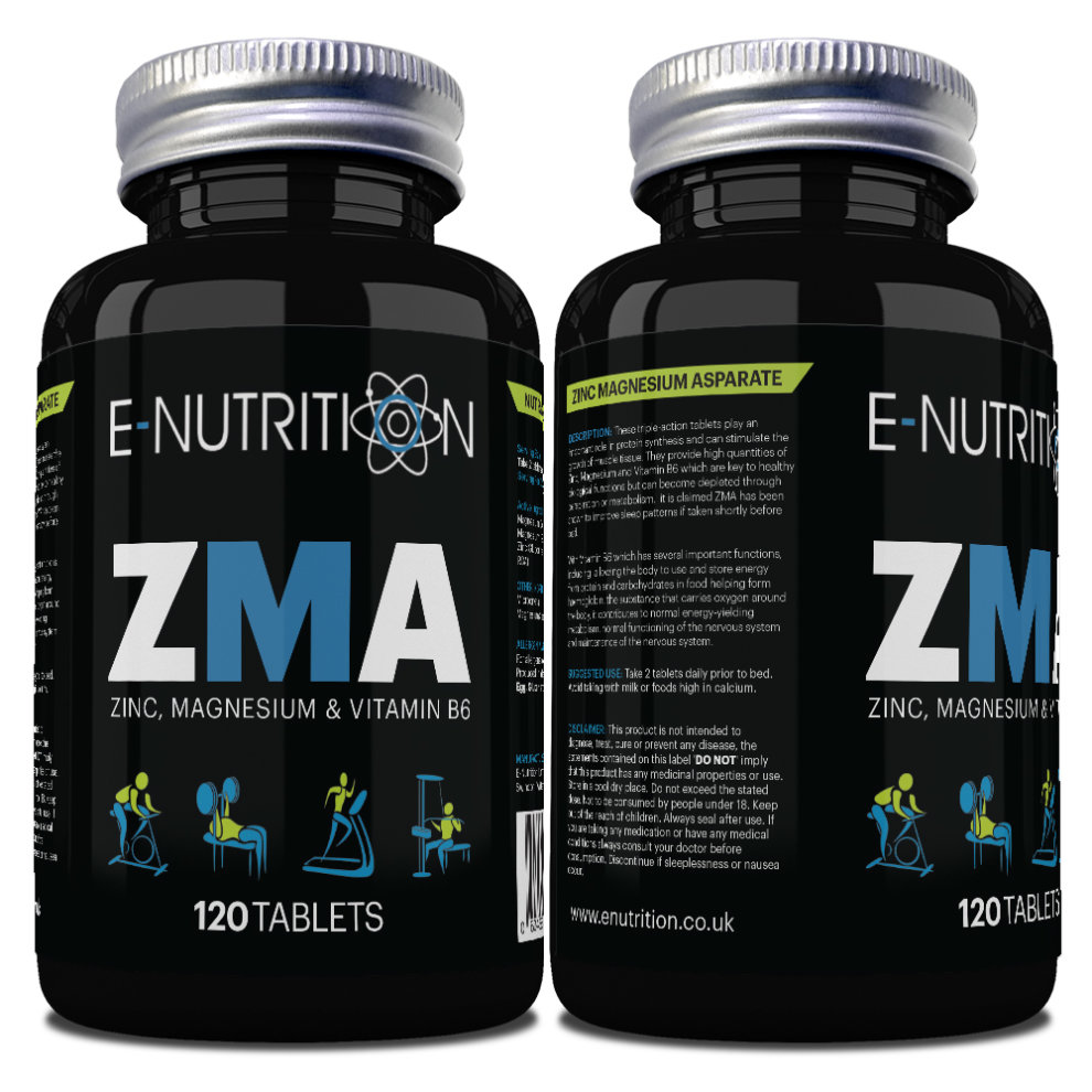ZMA 120 TABLETS - ZINC MAGNESIUM & B6 - TESTOSTERONE BOOSTER - E-NUTRITION