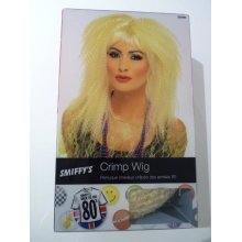 Blonde Ladies Crimp Wig With Fringe -  wig blonde 80s crimp trademark fancy dress 1980s costume ladies womens accessory smiffys long fringe