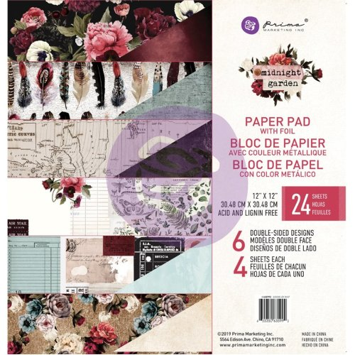 """Prima Marketing Double-Sided Paper Pad 12""""X12"""" 24/Pkg-Midnight Garden, 6 Foiled Designs/4 Each"""
