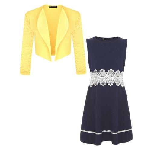 Girls Dress Bundle with Lace Sleeve Bolero