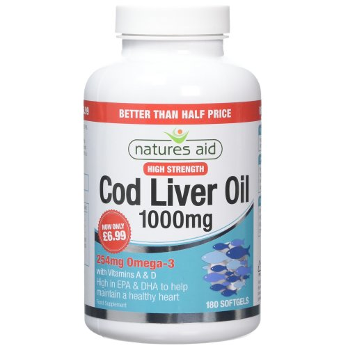 Natures Aid Cod Liver Oil 1000mg (High Strength) - Pack of 180 Capsules