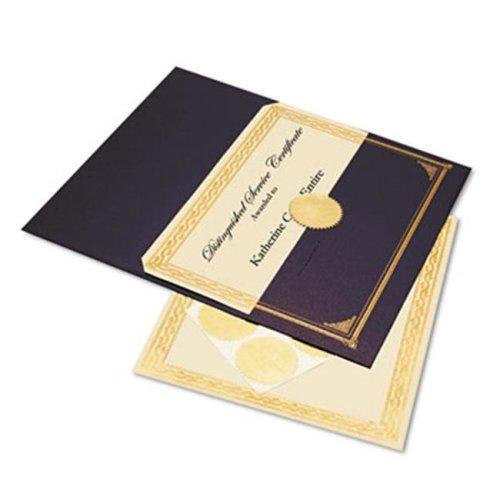 Geographics 47481 Ivory/Gold Foil Embossed Award Cert. Kit  Blue Metallic Cover  8-1/2 x 11  6/Pk