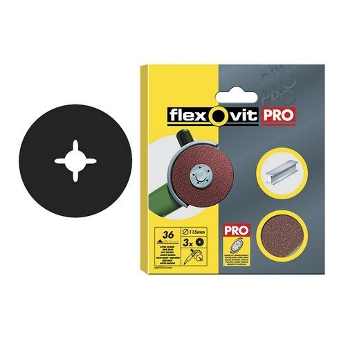 Flexovit 63642527538 Aluminium Oxide Fibre Discs 125mm Fine 80g Pack of 3